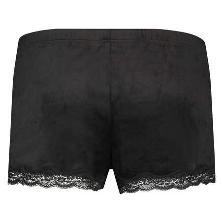 Shorts i sammet och spets, Svart