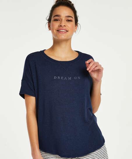 Kortärmad pyjamaströja i borstad jersey, blå