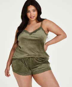 Shorts i sammet och spets, grön