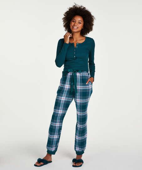 Pyjamastopp med långa ärmar, blå