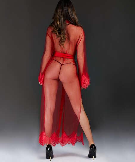 Lång Cravache Kimono, röd