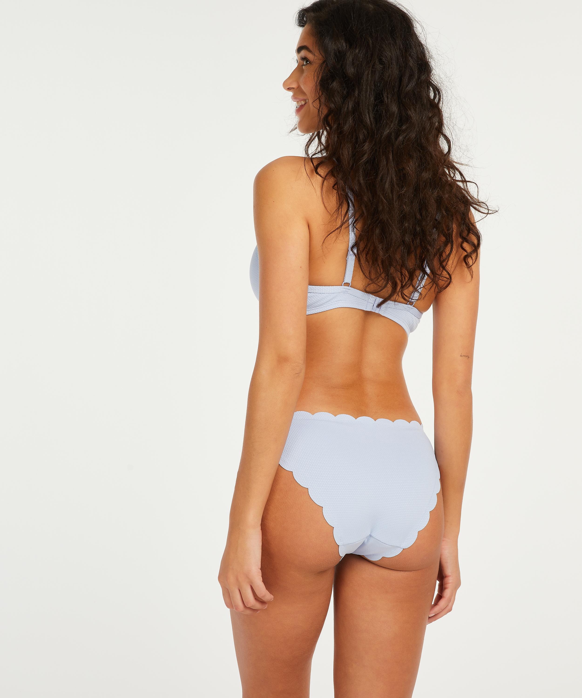 Scallop formpressad bikiniöverdel med bygel, blå, main
