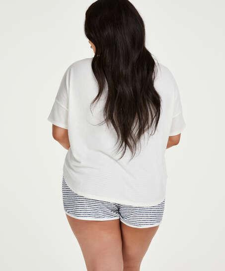 Brushed Stripe korta pyjamasbyxor, Grå