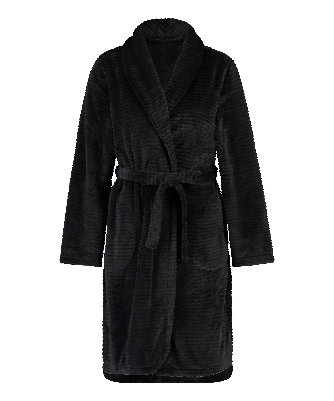 Ribbad badrock av fleece kort, Svart, main