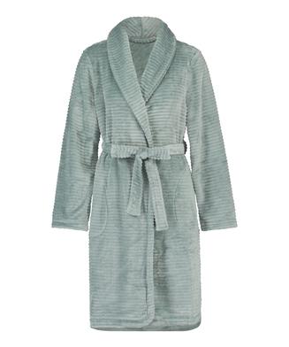 Ribbad badrock av fleece kort, grön