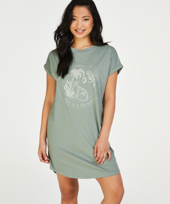 Nattskjorta med rund hals, grön