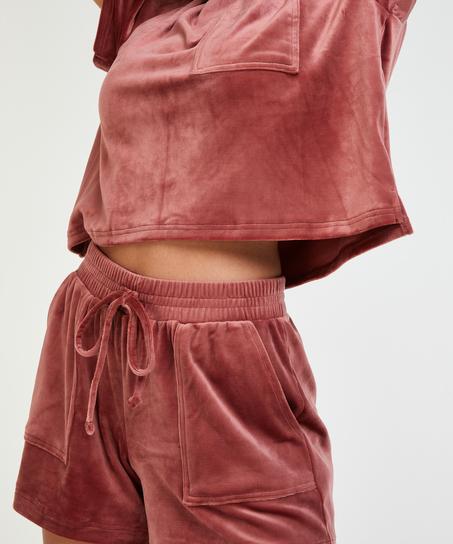 Sammetsshorts med ficka, Rosa
